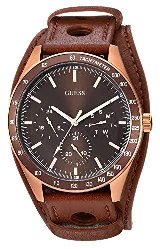 ゲス GUESS 腕時計 メンズ GUESS Men's Stainless Steel Japanese-Quartz Watch with Leather Strap, Brown, 46.6 (Model: U1100G3)ゲス GUESS 腕時計 メンズ