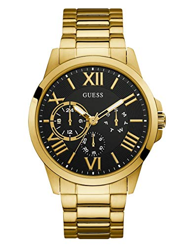 ゲス GUESS 腕時計 メンズ 【送料無料】GUESS Gold-Tone Stainless Steel + Black Bracelet Watch with Day, Date + 24 Hour Military/Int'l Time. Color: Gold-Tone (Model: U1184G2)ゲス GUESS 腕時計 メンズ