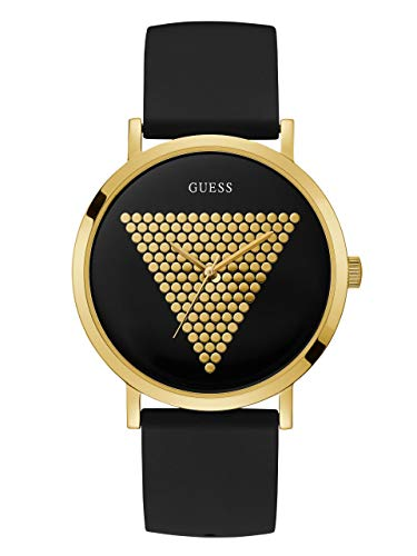 腕時計 ゲス GUESS メンズ 【送料無料】GUESS Iconic Studded Black and Gold-Tone Logo Silicone Watch. Color: Black (Model: U1161G2)腕時計 ゲス GUESS メンズ