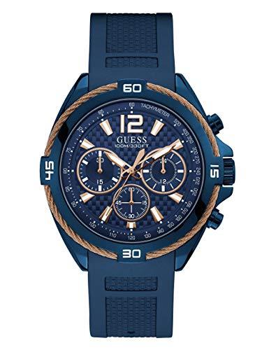 ゲス GUESS 腕時計 メンズ 【送料無料】GUESS Comfortable Iconic Rose Gold-Tone + Blue Stain Resistant Silicone Chronograph Watch. Color: Blue (Model: U1168G4)ゲス GUESS 腕時計 メンズ