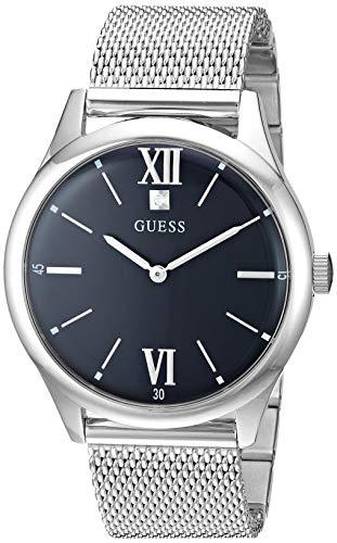 ゲス GUESS 腕時計 メンズ GUESS Stainless Steel Mesh Bracelet Watch with Black Genuine Diamond Dial. Color: Silver-Tone/Black (Model: U1214G1)ゲス GUESS 腕時計 メンズ