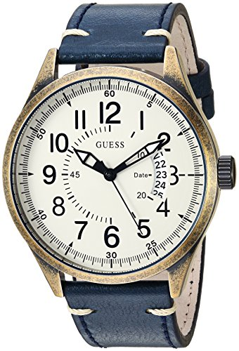ゲス GUESS 腕時計 メンズ 【送料無料】GUESS Men's Stainless Steel Japanese-Quartz Watch with Leather Strap, Color: Blue/Gold-Tone, 22 (Model: U1102G2)ゲス GUESS 腕時計 メンズ