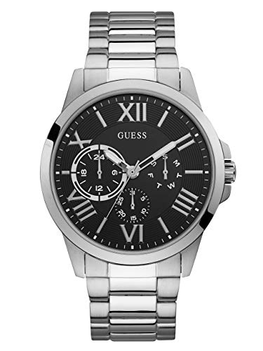 ゲス GUESS 腕時計 メンズ GUESS Stainless Steel + Black Bracelet Watch with Day, Date + 24 Hour Military/Int'l Time. Color: Silver-Tone (Model: U1184G1)ゲス GUESS 腕時計 メンズ