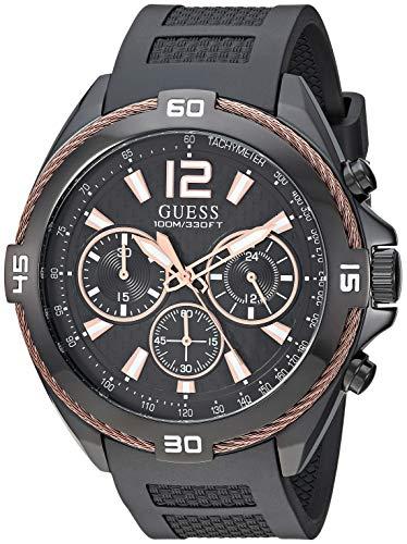 ゲス GUESS 腕時計 メンズ 【送料無料】GUESS Comfortable Rose Gold-Tone + Black Stain Resistant Silicone Chronograph Watch. Color: Blalck (Model: U1168G3)ゲス GUESS 腕時計 メンズ