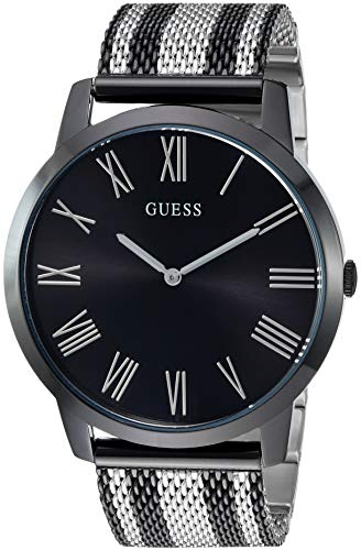 ゲス GUESS 腕時計 メンズ 【送料無料】GUESS Stainless Steel + Black Mesh Bracelet Watch. Color: Silver-Tone (Model: U1179G3)ゲス GUESS 腕時計 メンズ