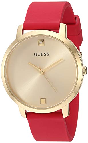 ゲス GUESS 腕時計 レディース 【送料無料】GUESS Comfortable Gold-Tone + Red Stain Resistant Silicone Watch with Genuine Diamond Accents. Color: Red (Model: U1210L2)ゲス GUESS 腕時計 レディース