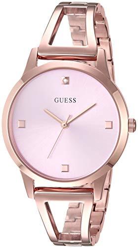 ゲス GUESS 腕時計 レディース GUESS Rose Gold-Tone + Pink Genuine Diamond Watch with Self-Adjustable Bracelet. Color: Rose Gold-Tone (Model: U1198L4)ゲス GUESS 腕時計 レディース