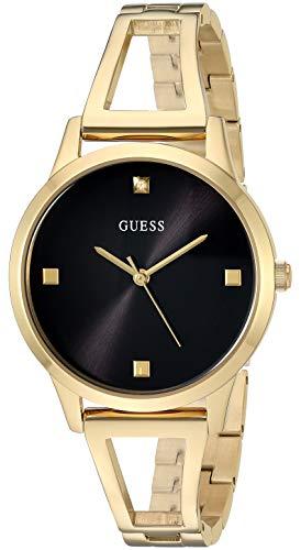 ゲス GUESS 腕時計 レディース GUESS Gold-Tone + Black Genuine Diamond Watch with Self-Adjustable Bracelet. Color: Gold-Tone (Model: U1198L3)ゲス GUESS 腕時計 レディース