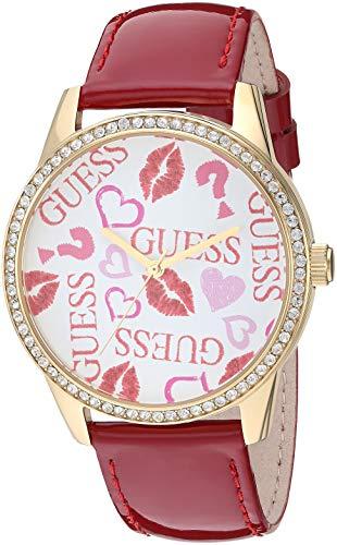ゲス GUESS 腕時計 レディース 【送料無料】GUESS Women's Stainless Steel Quartz Watch with Leather Calfskin Strap, red, 20 (Model: U1206L2)ゲス GUESS 腕時計 レディース