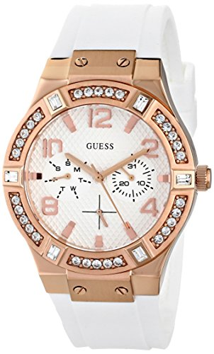 ゲス GUESS 腕時計 レディース GUESS Women's U0426L1 Stunning Rose Gold-Tone Multi-Function Watch on a Comfortable White Silicone Band with Day & Date Functionsゲス GUESS 腕時計 レディース