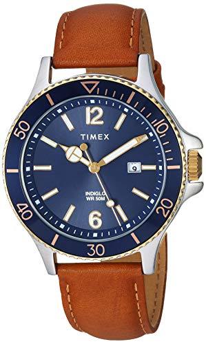タイメックス 腕時計 メンズ 【送料無料】Timex Men's TW2R64500 Harborside Tan/Blue Leather Strap Watchタイメックス 腕時計 メンズ