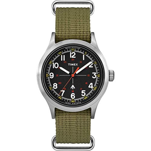 タイメックス 腕時計 メンズ 【送料無料】Timex Men's Military-Inspired 40mm Analog Quartz Canvas Strap, Green, 20 Casual Watch (Model: TW4B05800JR)タイメックス 腕時計 メンズ
