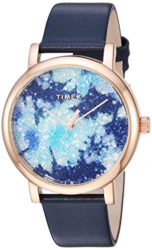 タイメックス 腕時計 レディース 【送料無料】Timex Women's TW2R66400 Crystal Bloom Blue/Rose Gold Floral Leather Strap Watchタイメックス 腕時計 レディース