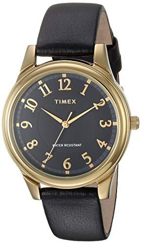 タイメックス 腕時計 レディース 【送料無料】Timex Women's TW2R87100 Basics 36mm Black/Gold-Tone Leather Strap Watchタイメックス 腕時計 レディース