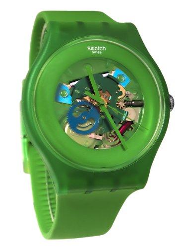 スウォッチ 腕時計 メンズ Swatch SUOG103 Unisex New Gent Green Lacquered Skeleton Dial Silicone Strap Watchスウォッチ 腕時計 メンズ