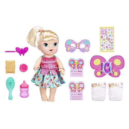ベビーアライブ 赤ちゃん おままごと ベビー人形 Baby Alive Butterfly Party: Blonde Hair Doll with 12 Accessories That Drinks and Wets, Great Doll for 3 Year Old Girls and Boys and Upベビーアライブ 赤ちゃん おままごと ベビー人形