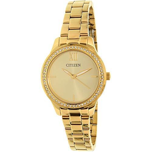 シチズン 逆輸入 海外モデル 海外限定 アメリカ直輸入 Citizen Analog Stainless Steel Golden Dial with Champagne Dial and Stone Embedded Case, Golden Women's Watch - EL3082-55Pシチズン 逆輸入 海外モデル 海外限定 アメリカ直輸入