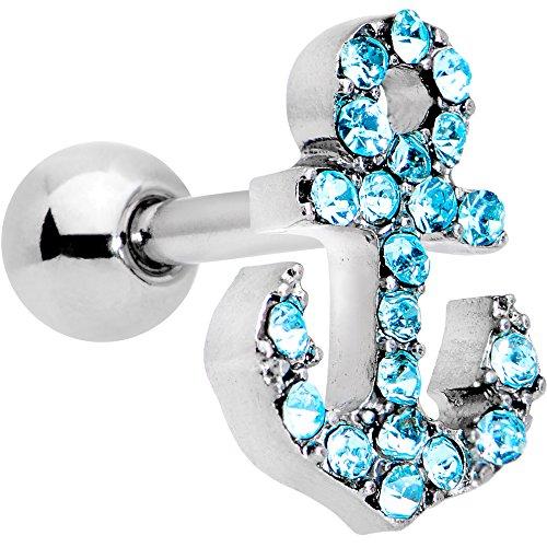 ボディキャンディー ボディピアス アメリカ 日本未発売 ウォレット 【送料無料】Body Candy Steel Brilliant Blue Accent Nautical Anchor Cartilage Tragus Earring 16 Gauge 1/4
