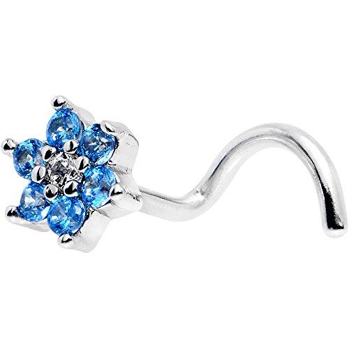 ボディキャンディー ボディピアス アメリカ 日本未発売 ウォレット 【送料無料】Body Candy Stainless Steel Brilliant Blue Clear Accent Flower Left Nose Stud Screw 18 Gauge 1/4