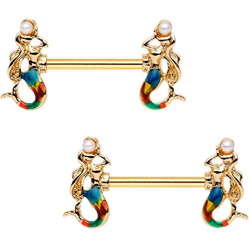 ボディキャンディー ボディピアス アメリカ 日本未発売 ウォレット Body Candy Nipplerings Piercing Women 14G Anodized Steel 2 Pc Mermaid Barbell Nipple Ring Setボディキャンディー ボディピアス アメリカ 日本未発売 ウォレット