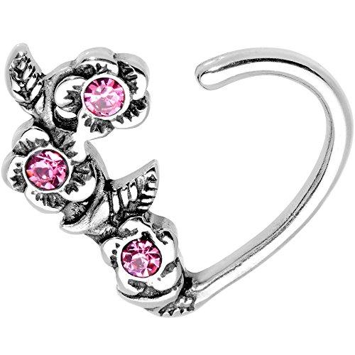 ボディキャンディー ボディピアス アメリカ 日本未発売 ウォレット Body Candy Steel Pink Accent Roses Heart Right Daith Cartilage Tragus Earring 16 Gauge 3/8