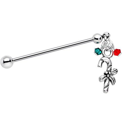 ボディキャンディー ボディピアス アメリカ 日本未発売 ウォレット Body Candy Steel Holiday Candy Cane Helix Earring Industrial Barbell Created with Swarovski Crystals 14 Gauge 32mmボディキャンディー ボディピアス アメリカ 日本未発売 ウォレット