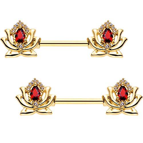 ボディキャンディー ボディピアス アメリカ 日本未発売 ウォレット 【送料無料】Body Candy Gold PVD Steel Red Accent Red Hot Lotus Flower Nipple Barbell Set of 2 14 Gauge 9/16