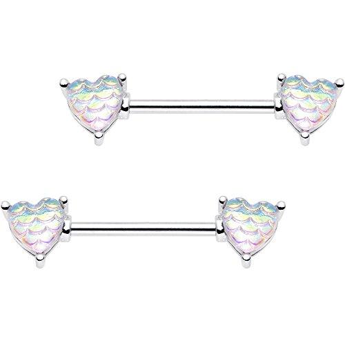ボディキャンディー ボディピアス アメリカ 日本未発売 ウォレット 【送料無料】Body Candy Steel Iridescent White Mermaid Scale Heart Barbell Nipple Ring Set of 2 14 Gauge 5/8
