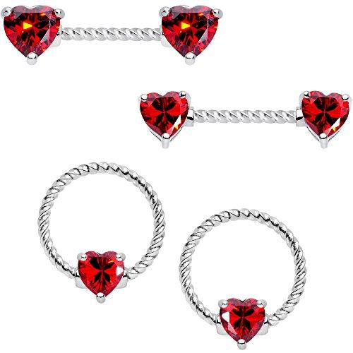ボディキャンディー ボディピアス アメリカ 日本未発売 ウォレット Body Candy 14G 4Pc Twisted 316L Steel Captive Red Heart Straight Barbell BCR Nipple Ring Set 16mmボディキャンディー ボディピアス アメリカ 日本未発売 ウォレット