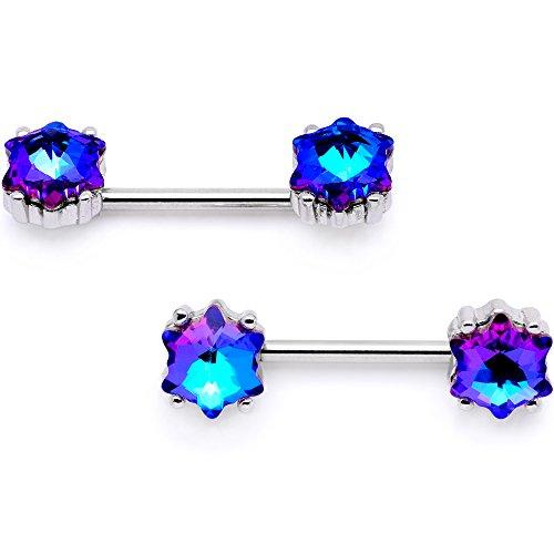 ボディキャンディー ボディピアス アメリカ 日本未発売 ウォレット Body Candy Nipplerings Piercing Women 14G Stainless Steel 2 Pc Blue Star Barbell Nipple Ring Setボディキャンディー ボディピアス アメリカ 日本未発売 ウォレット
