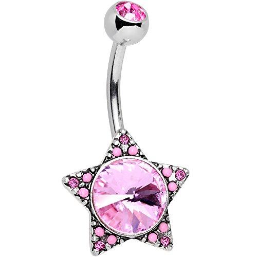 ボディキャンディー ボディピアス アメリカ 日本未発売 ウォレット 【送料無料】Body Candy Womens Stainless Steel Pink Accent Encrusted Big Star Belly Button Ringボディキャンディー ボディピアス アメリカ 日本未発売 ウォレット