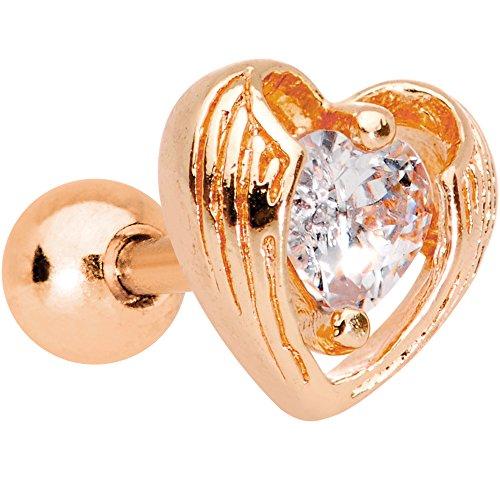 ボディキャンディー ボディピアス アメリカ 日本未発売 ウォレット 【送料無料】Body Candy Rose Gold Plated Steel Clear Accent Hugged Heart Cartilage Tragus Earring 16 Gauge 1/4