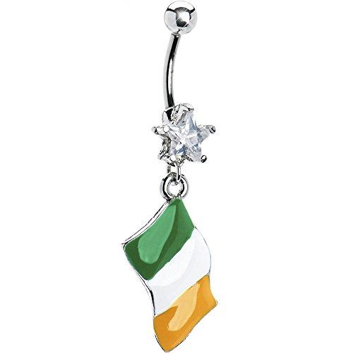 ボディキャンディー ボディピアス アメリカ 日本未発売 ウォレット 【送料無料】Body Candy Stainless Steel Clear Star Flag of Ireland Dangle Belly Ringボディキャンディー ボディピアス アメリカ 日本未発売 ウォレット