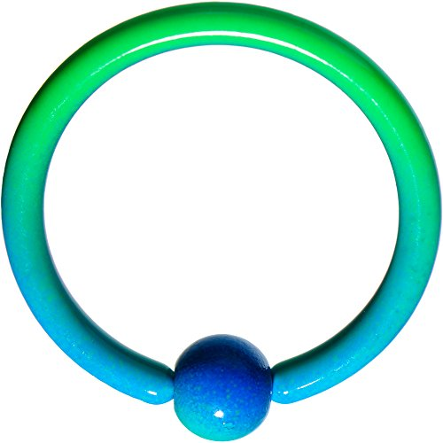 ボディキャンディー ボディピアス アメリカ 日本未発売 ウォレット 【送料無料】Body Candy Color Plated Steel Green Blue Fade BCR Captive Ring 16 Gauge 3/8