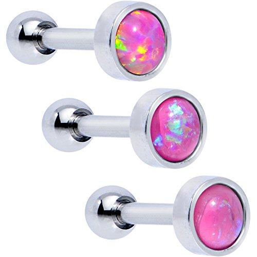 ボディキャンディー ボディピアス アメリカ 日本未発売 ウォレット 【送料無料】Body Candy Steel Iridescent Pink Accent Tragus Cartilage Earring 3 Pack 16 Gauge 1/4