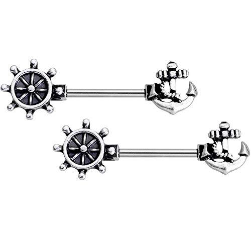 ボディキャンディー ボディピアス アメリカ 日本未発売 ウォレット 【送料無料】Body Candy 2Pc 14G Nipplering Piercing 316L Steel Seaside Nautical Anchor Barbell Nipple Rings 9/16