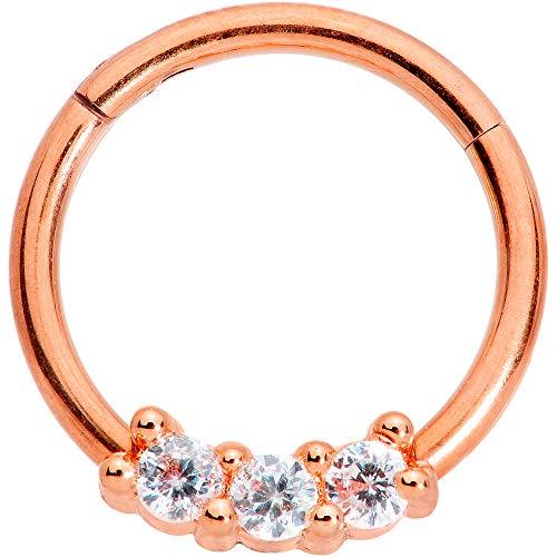ボディキャンディー ボディピアス アメリカ 日本未発売 ウォレット 【送料無料】Body Candy 16G PVD Steel Segment Ring Clear Accent Trio Rosy Seamless Cartilage Tragus Helix Earring 3/8