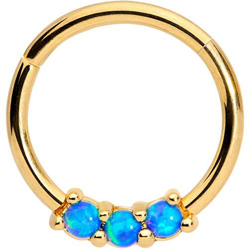ボディキャンディー ボディピアス アメリカ 日本未発売 ウォレット 【送料無料】Body Candy 16G PVD Steel Hinged Seamless Segment Cartilage Septum Blue Synthetic Opal Nose Hoop 3/8