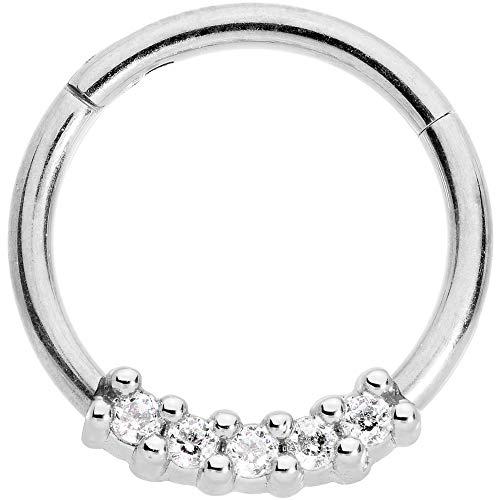ボディキャンディー ボディピアス アメリカ 日本未発売 ウォレット Body Candy 16G Steel Segment Ring Clear Accent Quartet Seamless Cartilage Tragus Helix Earring 3/8