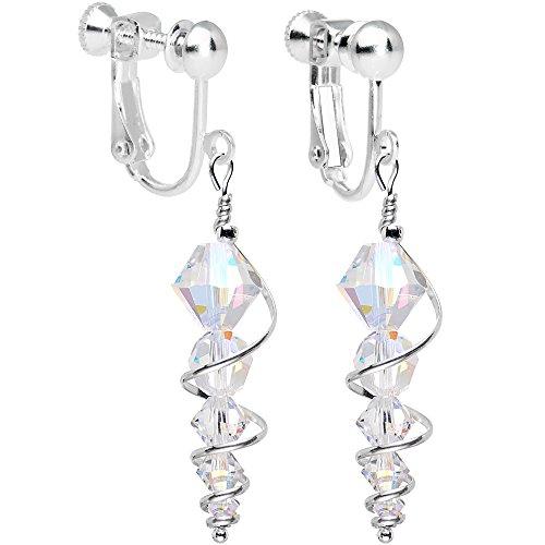 ボディキャンディー ピアス アメリカ 日本未発売 ブランド 【送料無料】Body Candy Handcrafted Silver Plated Clear Icicle Clip On Earrings Created with Swarovski Crystalsボディキャンディー ピアス アメリカ 日本未発売 ブランド