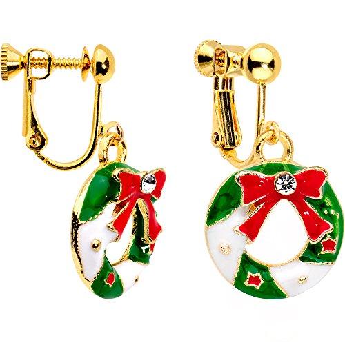 ボディキャンディー ピアス アメリカ 日本未発売 ブランド 【送料無料】Body Candy Handcrafted Gold Plated Clear Accent Christmas Wreath Clip On Earringsボディキャンディー ピアス アメリカ 日本未発売 ブランド