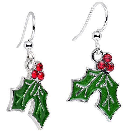 ボディキャンディー ピアス アメリカ 日本未発売 ブランド 【送料無料】Handcrafted Silver Plated Green Holiday Holly Dangle Earrings Created with Swarovski Crystals 1