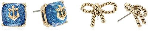 ベッツィ・ジョンソン ピアス アメリカ 日本未発売 ブランド Betsey Johnson Anchor Stone and Rope Bow Duo Stud Earringsベッツィ・ジョンソン ピアス アメリカ 日本未発売 ブランド