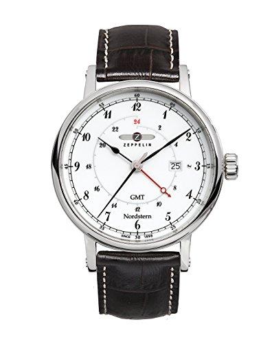 ツェッペリン 腕時計 メンズ ゼッペリン ドイツ Graf Zeppelin Nordstern Series Swiss Quartz GMT Watch with Coin-Edge Case 7546-1ツェッペリン 腕時計 メンズ ゼッペリン ドイツ