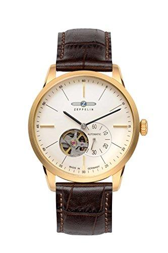 ツェッペリン 腕時計 メンズ ゼッペリン ドイツ 【送料無料】Zeppelin Flatline Automatic Open Heart Men's Goldtone Watch Brown Band 7362-1ツェッペリン 腕時計 メンズ ゼッペリン ドイツ