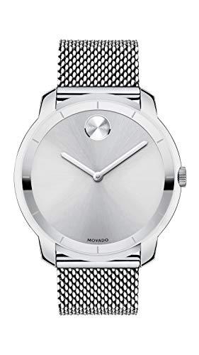 モバード 腕時計 メンズ Movado Men's BOLD Thin Stainless Steel Watch with a Printed Index Dial, Silver (Model 3600260)モバード 腕時計 メンズ