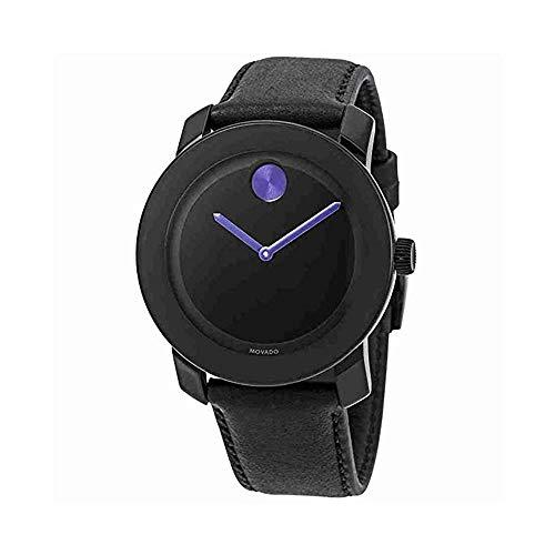 モバード 腕時計 メンズ 【送料無料】Movado BOLD 3600479 BLACK LEATHER STRAP BLACK PURPLE DIAL ACCENTS UNISEX WATCHモバード 腕時計 メンズ