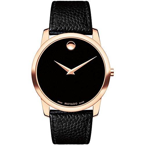 """モバード 腕時計 メンズ 【送料無料】Movado Men""""s 40mm Black Leather Band Rose Gold Plated Case Sapphire Crystal Swiss Quartz Watch 0607060モバード 腕時計 メンズ"""