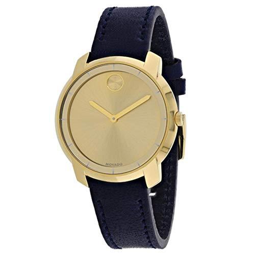 モバード 腕時計 レディース 【送料無料】Movado Bold Yellow Gold Sunray Dial Ladies Leather Watch 3600474モバード 腕時計 レディース