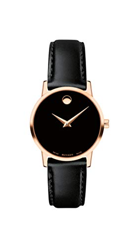 モバード 腕時計 レディース Movado Women's Museum Rose Gold Watch with a Concave Dot Museum Dial, Gold/Black Strap (607276)モバード 腕時計 レディース
